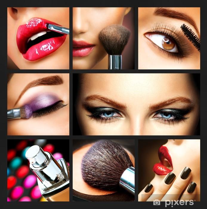 Naklejka Pixerstick Makeup Collage. Profesjonalny makijaż szczegóły. Makeover - Części ciała