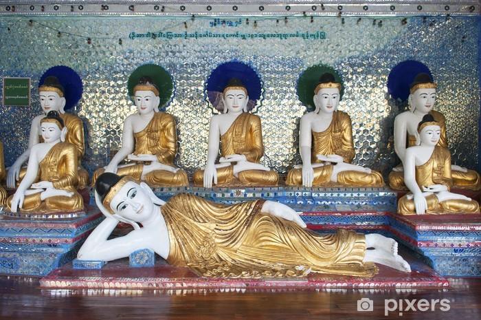 Sticker Pixerstick Chiffres de Bouddha dans la pagode Shwedagon de Yangon au Myanmar - Asie
