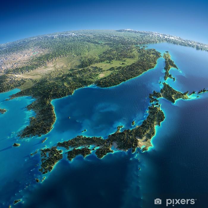 Poster Terre détaillé. Japon et la Corée - Terre