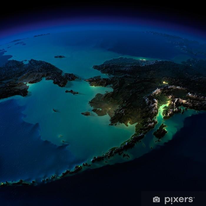 Night Earth. Alaska and the Bering Strait Vinyl Wall Mural - Asia
