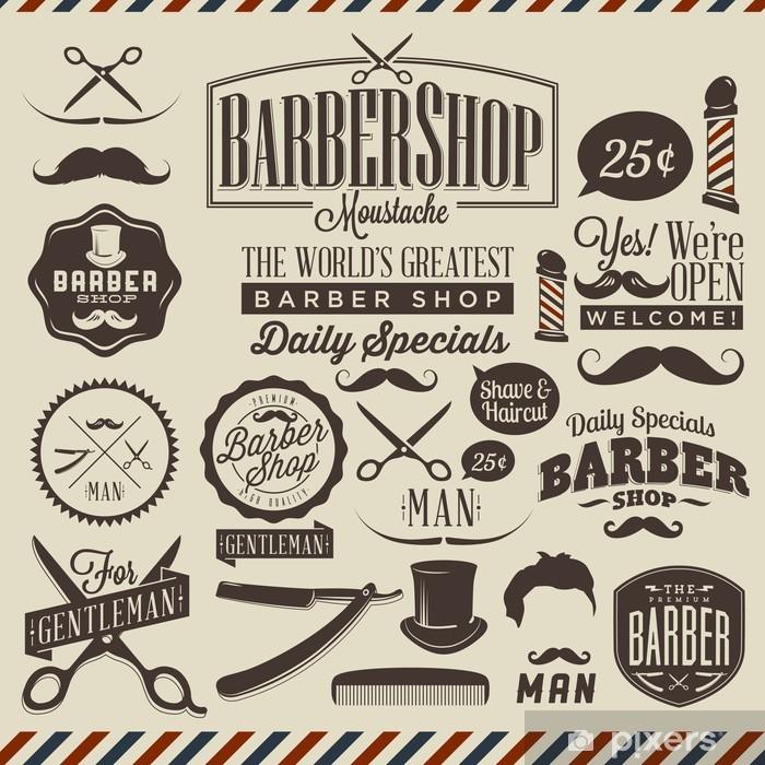 Papier peint vinyle Collection de grunge vintage coiffeur étiquettes boutique -