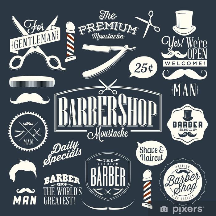 Papier peint vinyle Jeu de étiquettes vintages de salon de coiffure -