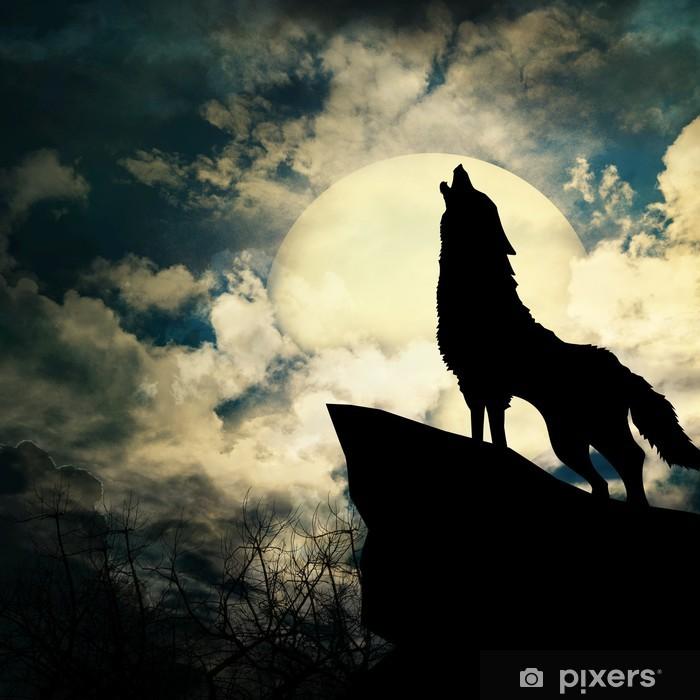 Sticker Pixerstick Loup hurlant à la silhouette de la pleine lune - Styles