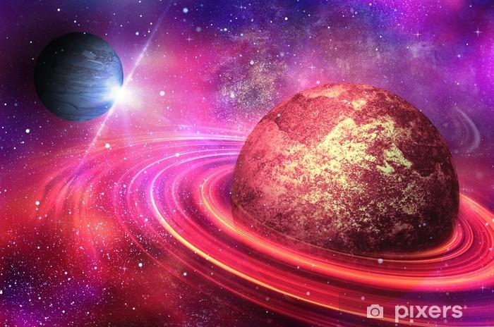 Papier peint vinyle Planète avec des anneaux au lever du soleil sur le fond du cosmos - Univers