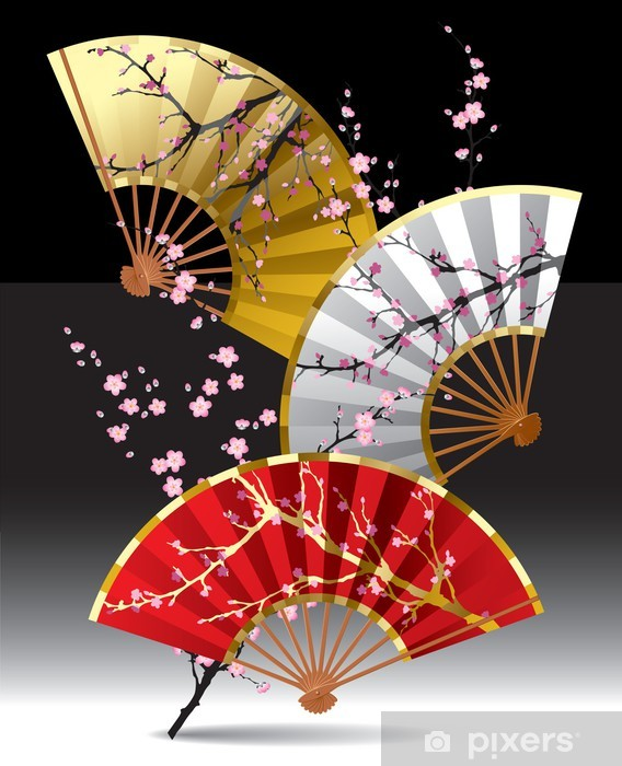 Japanese fans Pixerstick Sticker - Cherry trees