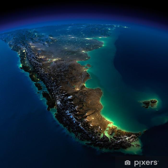 Vinyl Fotobehang Nacht Aarde. Een stuk van Zuid-Amerika - Argentinië en Chili - Amerika
