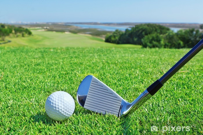 Golf accessories on a background of a green golf course. Pixerstick Sticker - Golf
