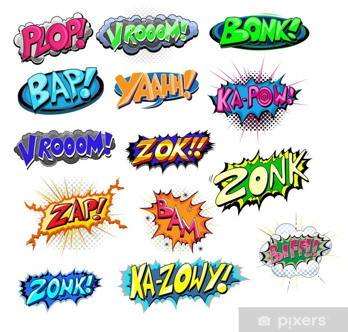 Set of Funny Comic Expression Vector Texts Poster