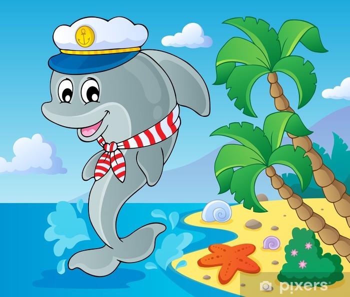 Image with dolphin theme 3 Vinyl Wall Mural - Preschooler