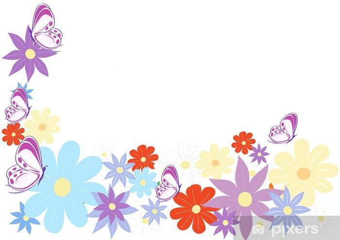 Fiori E Farfalle.Sfondo Fiori Colorati E Farfalle Wall Mural Pixers We Live To
