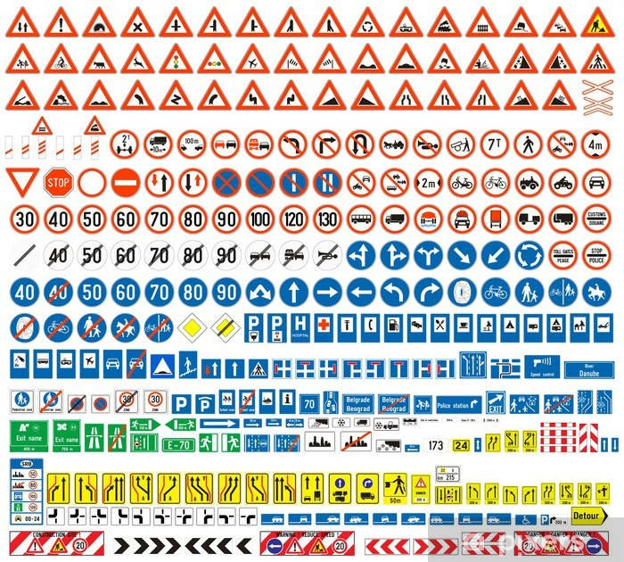 Aufkleber Verkehrszeichen Colection Europen Mehr Als 300 Stück Pixerstick