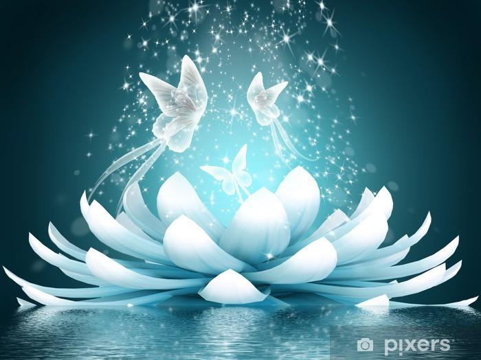 Beautiful lotus flower Vinyl Wall Mural - Butterflies