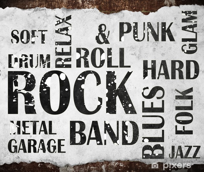 Naklejka Pixerstick Plakat grunge rock - Rock