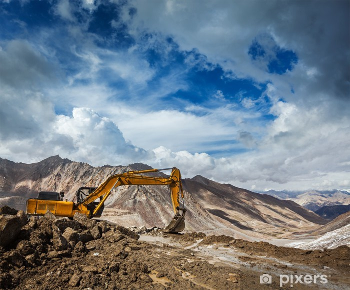 Road construction in mountains Himalayas Pixerstick Sticker - Holidays