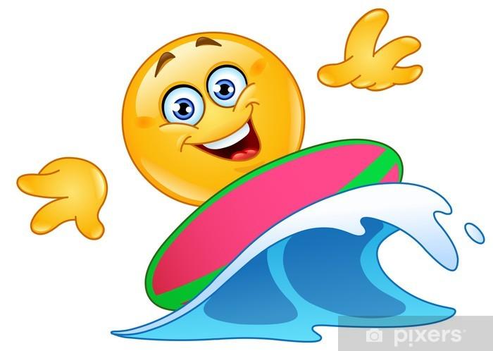 Nálepka Pixerstick Surfování emotikon - Značky a symboly