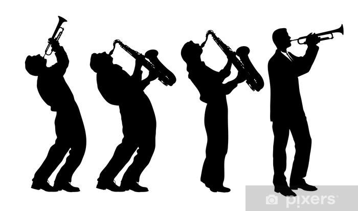 Vinyl Fotobehang Silhouet van jazzmuzikant -