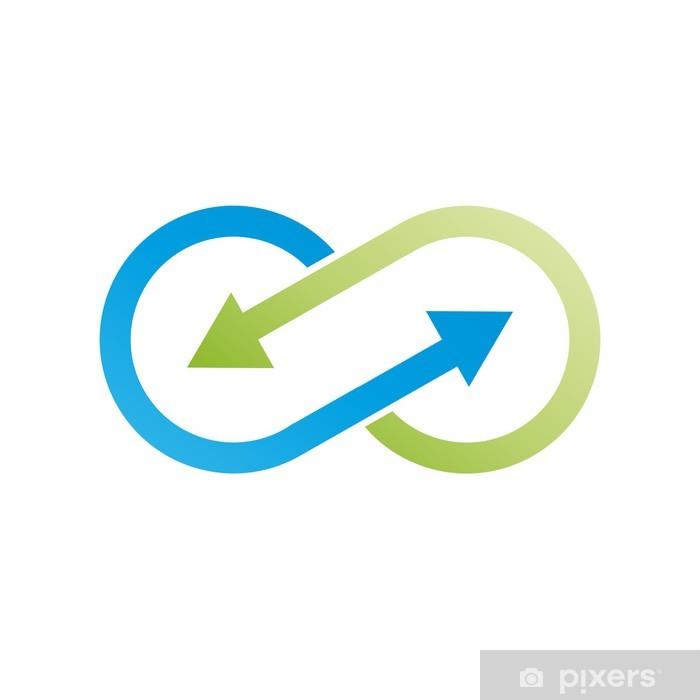 Nálepka Pixerstick Vektorové Logo nekonečné pomocí šipek. Zelená recyklace - Značky a symboly