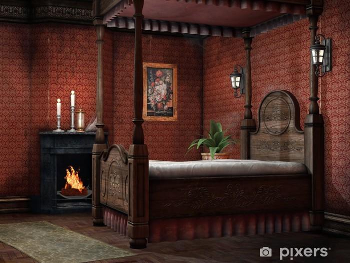 Candele Camera Da Letto : Adesivo retro camera da letto con camino e candele u pixers