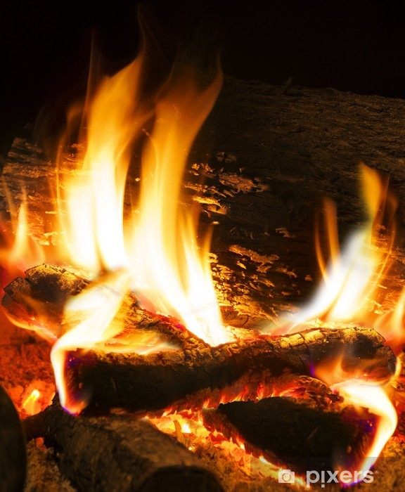 Sticker Pixerstick Détail de feu et la combustion du bois - Textures