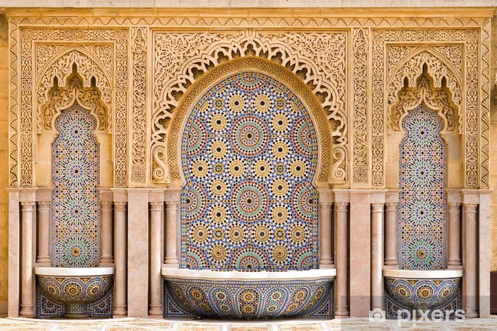 Typical moroccan tiled fountain in the city of Rabat, near the H Vinyl Wall Mural - Religion