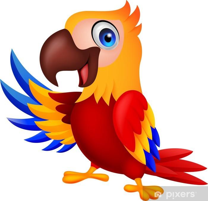 Cute macaw bird cartoon waving Vinyl Wall Mural - Wall decals