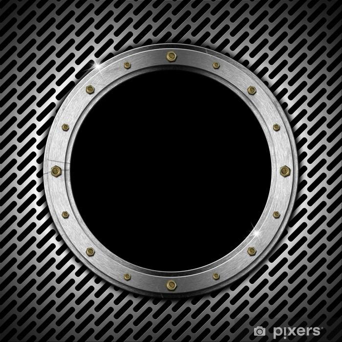 Nálepka Pixerstick Tmavě Grunge Metal Porthole - Těžký průmysl