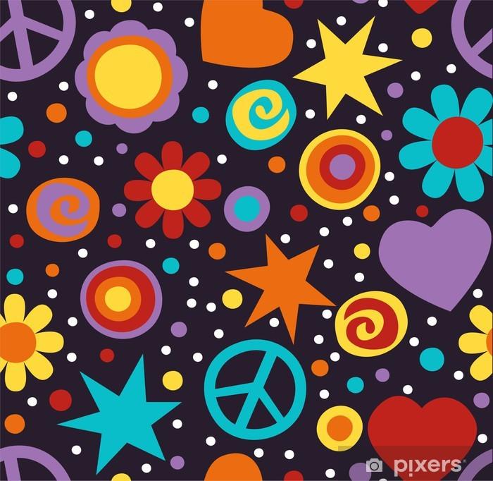 Poster Flower power hippie nahtlose Muster - Themen