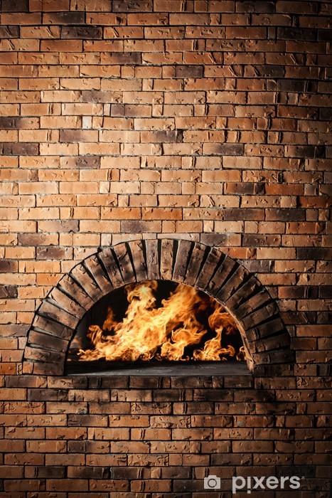 Fotomural Estándar Un horno tradicional para cocinar y hornear pizza. - Destinos
