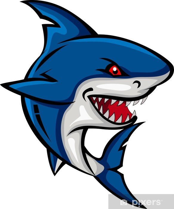Angry Shark Cartoon Wall Mural Pixers We Live To Change