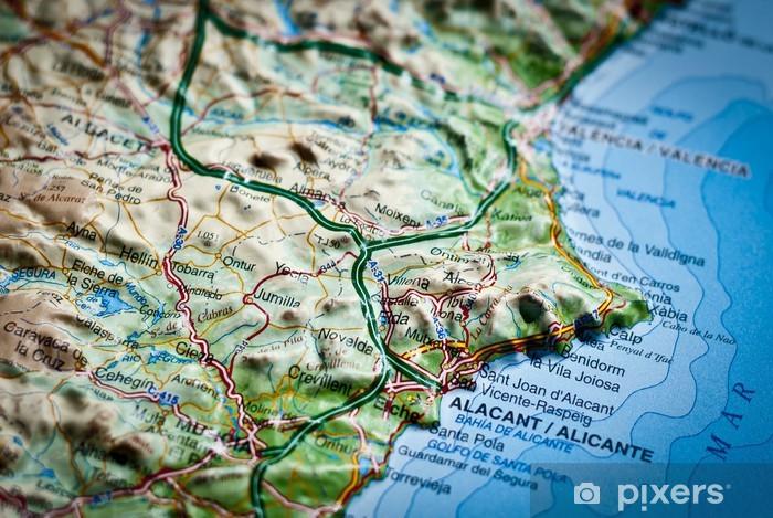 Fototapeta winylowa Mapa drogowa Costa Blanca, Alicante, Hiszpania - Wakacje