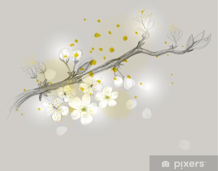 Sticker Branche De Cerisier Est En Dessin Floral Fleur Delicat Pixers Nous Vivons Pour Changer