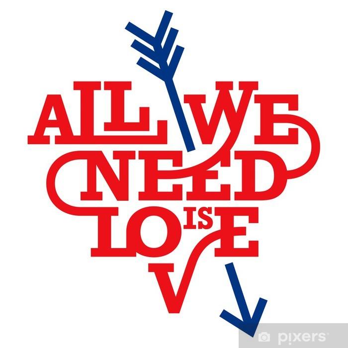 Fototapeta winylowa Typografia Serce. Wszystko, czego potrzebujesz, to miłość. Art deco style. - Tematy