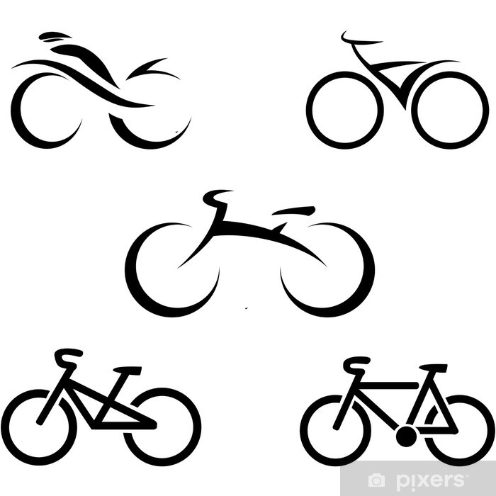 Set Of Icons With Stylized Bikes Vector Illustration Sticker Pixerstick