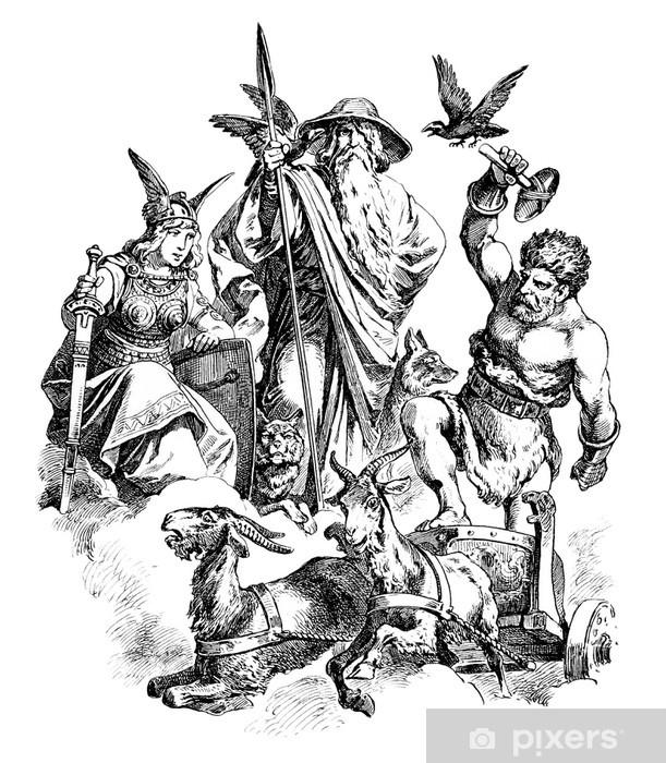 Germanic/Nordic Gods : Freya - Wotan - Thor Pixerstick Sticker - Esoteric