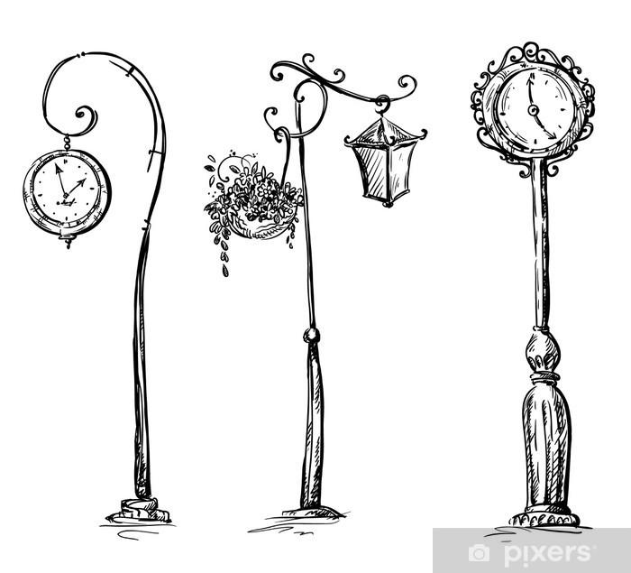 Naklejka Pixerstick Zegary uliczne i lamp post, rysowane ręcznie - Inne