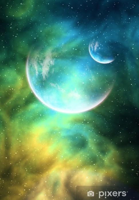 Vinilo para Nevera Fondo con un planeta, la Luna y Nebula -