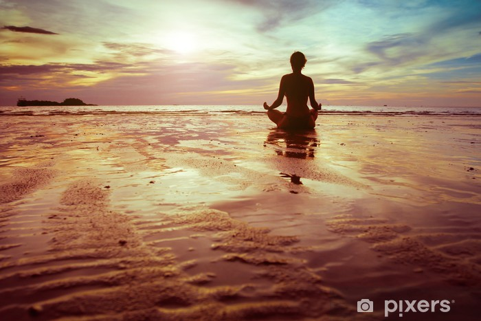 sport and fitness, silhouette of woman meditating on the beach Pixerstick Sticker - Health