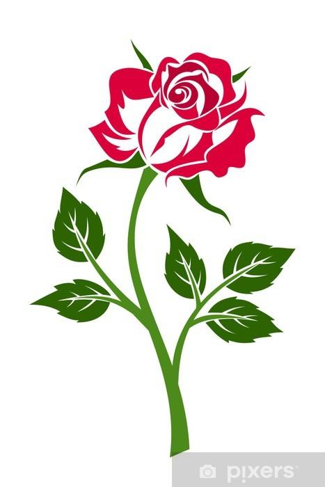 Papier peint rose rouge avec tige vector illustration - Rose avec tige ...