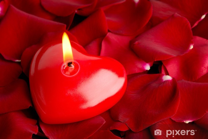 Sydänpunainen kynttilä ja ruusunlehdet Pixerstick tarra - Destinations