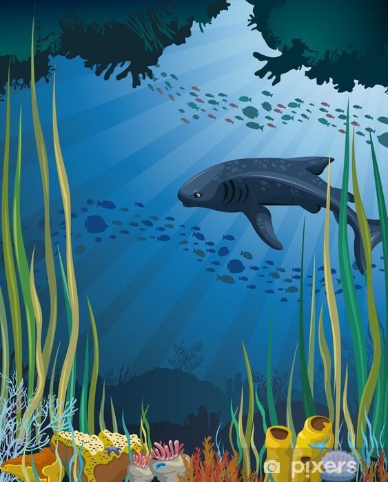 Vinilo Pixerstick Tiburón ballena y los arrecifes de coral. - Arrecife de coral