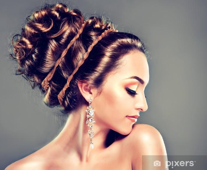 Fototapete Modell Mit Coral Make Up Und Frisuren Griechischen