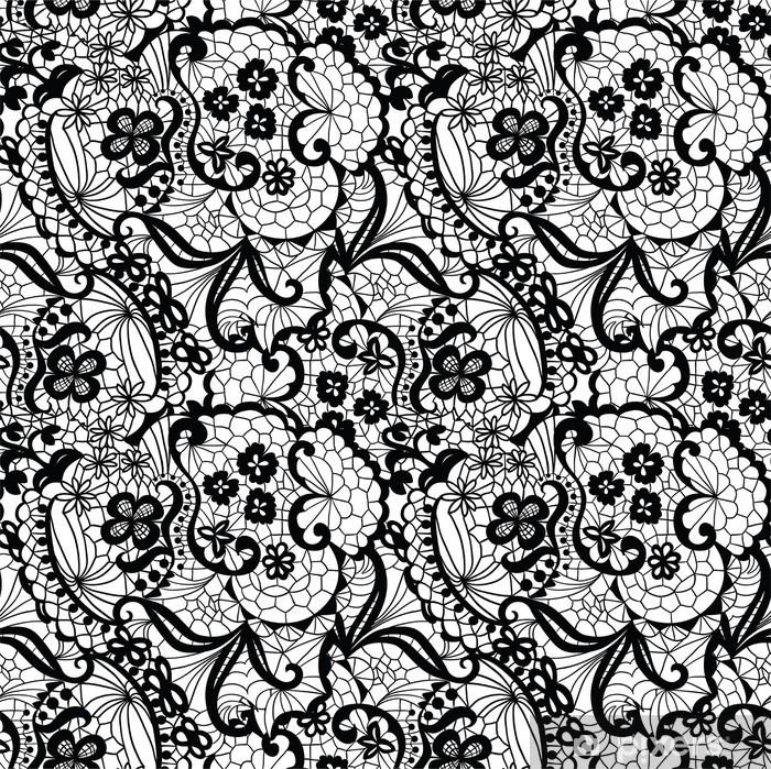 Fotomural Estándar Encaje sin patrón negro con flores sobre fondo blanco - Estilos