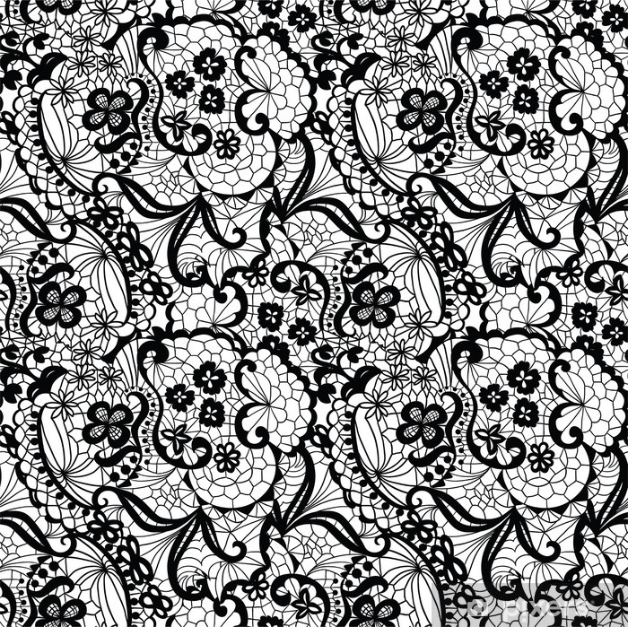 Sticker Pixerstick Black Lace seamless avec des fleurs sur fond blanc - Styles