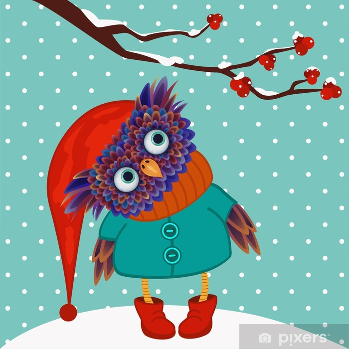 Poster Uil winter vector - Thema's