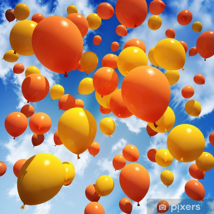 Vinilo Pixerstick Globo es liberado en el cielo - Felicidad