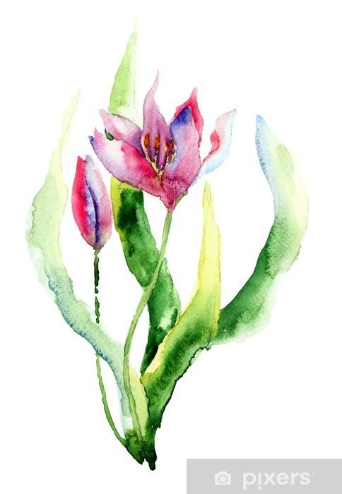 Papier peint vinyle Fleurs violettes - Fleurs