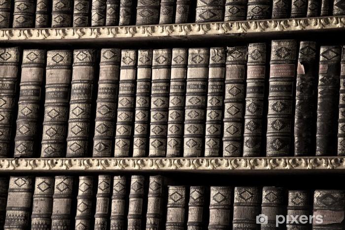 Vinyl Fotobehang Oude boeken in een bibliotheek - sepia - Kunst en Creatie
