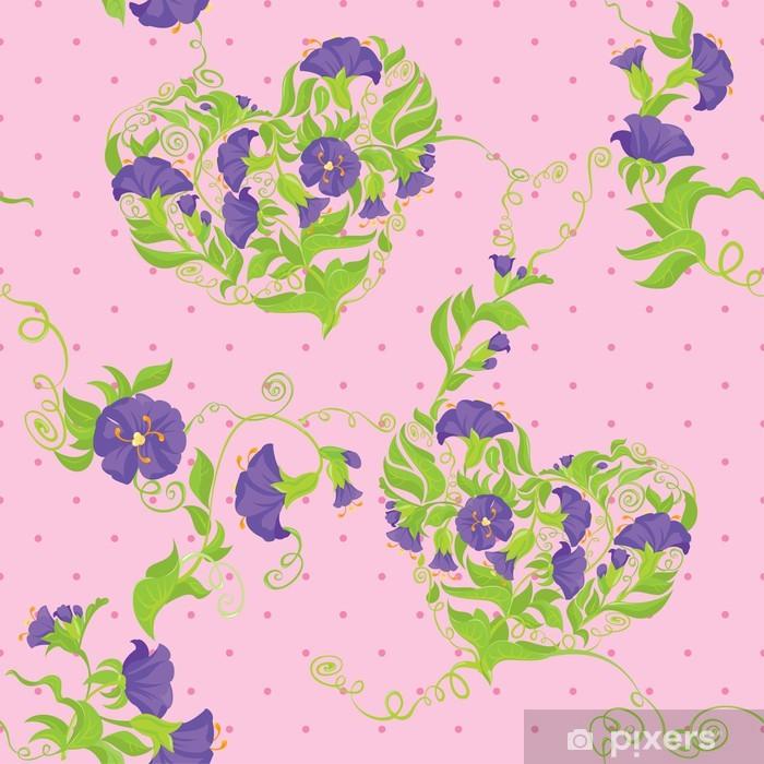 Plakat Jednolite wzór - serca kwiaty Powój na polka dot różowy - Style