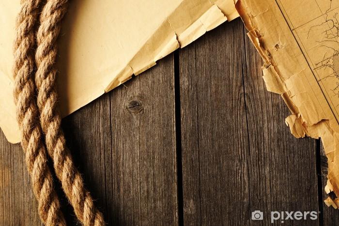 Fototapeta winylowa Stary podarte papieru, map i liny - Akcesoria