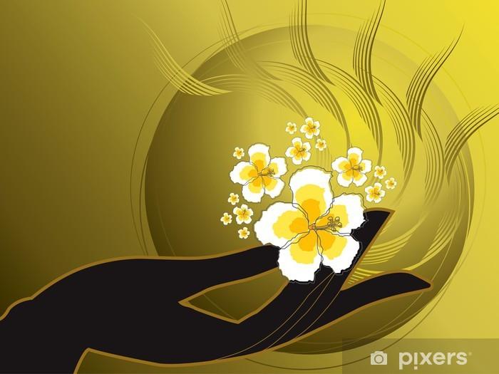 Sticker Pixerstick Bouddha main et hibiscus blanc - Religion